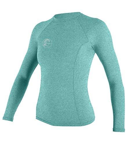O'Neill Wetsuits UV Sun Protection Womens Hybrid Long Sleeve Crew Sun Shirt Rash Guard, Seaglass, Large