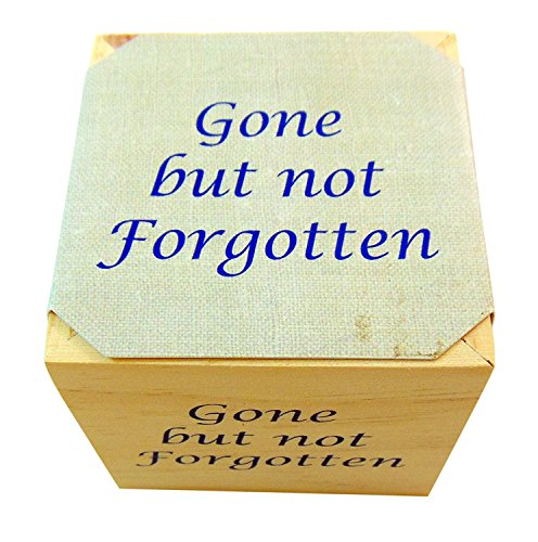 Gone But Not Forgotten Memorial Flower Pot Plant Wooden Cube with Forget Me Not Seeds