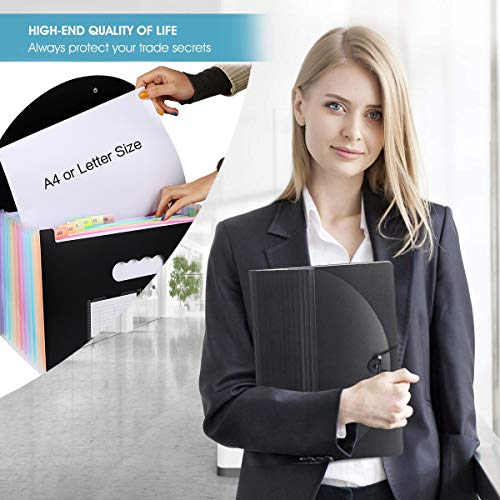 Accordian File Organizer,12 Pockets Expanding File Folder with Expandable Cover, Portable Filing Box Desktop Accordion Plastic Folders, Colored Paper/Document/Coupon/Receipt Organizer(A4/Letter Size) Photo #5