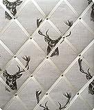Pinnwand, Hirsch mit Geweih, Chrom Details, groß, 40 x 48 cm, Stoff, Memoboards, Pinnwand, Memoboards, Memoboards zum Aufhängen im Hochformat