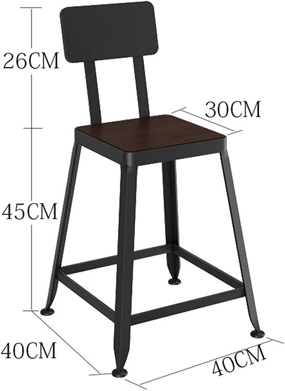 AGLZWY Bar Stool Metal Solid Wood PU Leather Backrest Anti-Slip Fashion High Stool Bar Chair (color   Black, Size   40X40X71CM)