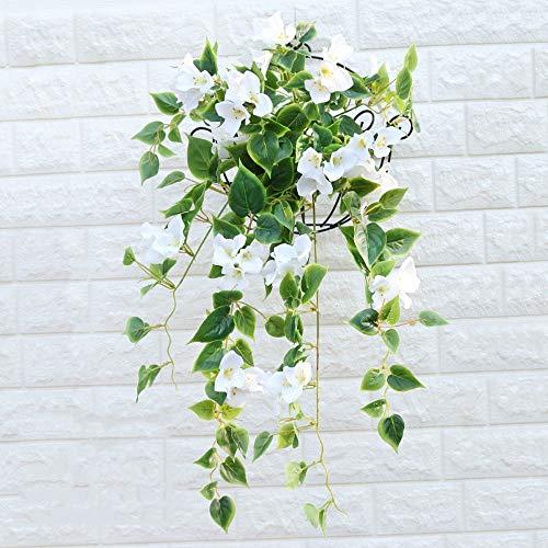 1 stuk kunstmatige zijden doek roos 25,8 inch bloem Ivy Vine Leaf hangsysteem garland huwelijk hotel kantoor bruiloft tuin handwerk kunstdecoratie (kleur: roze) wit