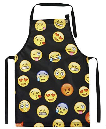 Ferocity Kinderschürze Jugend Malschürze Kunstkittel Kochschürze Apron Teenageralter Werkschürze Emoji Black [074]
