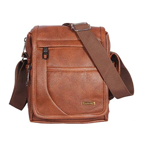 Handcuffs Men's Tan Leather Messenger Bag (10 Inch)