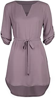 CUCUHAM Women's Casual Solid 1/2 Sleeved V-Neck Lace-up Pocket Irregular Hem Beach Dress