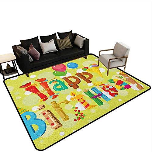 MsShe Outdoor tapijt verjaardag, feestelijke gestreepte achtergrond met ballonnen stippen Confetti regen viering verjaardag, Multi kleuren