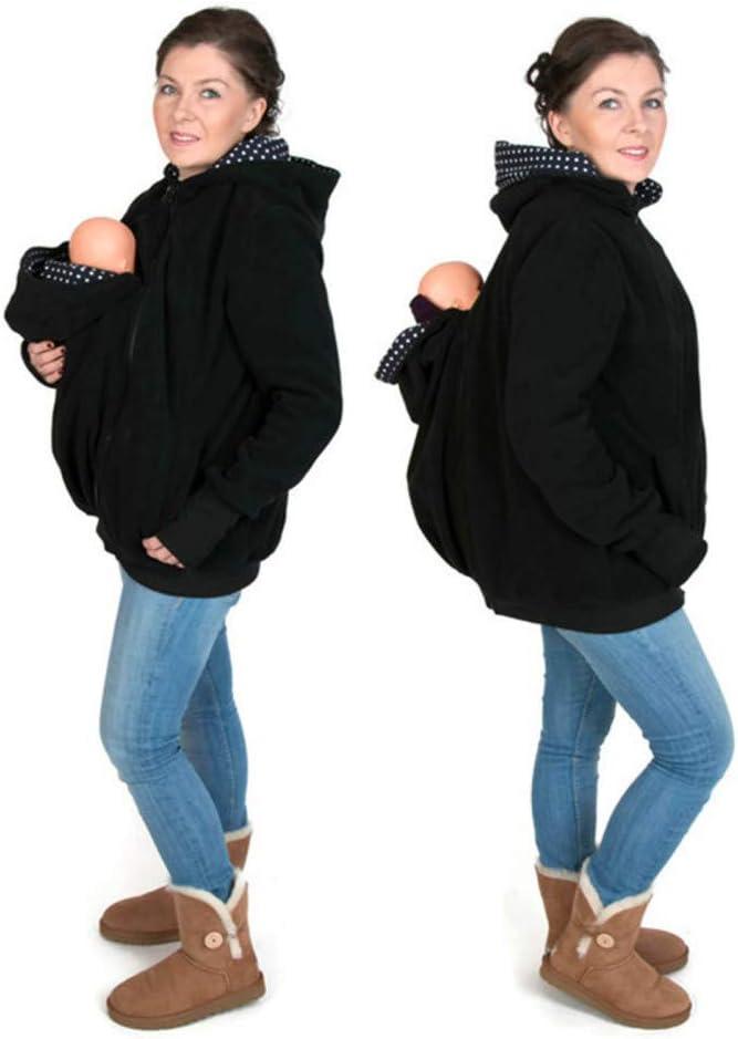 Designs Tragejacke F/ür Mama Und Baby Damen Langarm Umstandsjacke Warm Tragepullover Mit Babyeinsatz 3 In 1 Polarfleece K/änguru Softshell Umstandsmode Fleecejacke Mit Kapuze