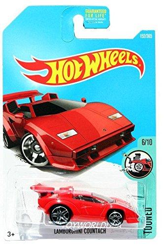 HOT WHEELS 2017 Tooned Lamborghini Countach Red 152/365 (Long Card)