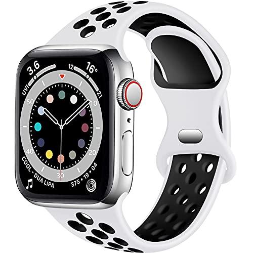 Epova Correa Deporte Compatible con Apple Watch 42mm 44mm, Mujeres Hombres Pulsera de Silicona Transpirable para iWatch SE Series 6 5 4 3 2 1, Blanco/Negro, Grande