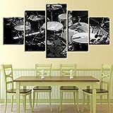 ukooo Dekorative Gemälde - Leinwand Wandkunst HD drucken Moderne Wohnzimmer-Set von 5 Schlagzeug Decoracion Dormitorio on-16x24 / 32 / 40inch, Withframe