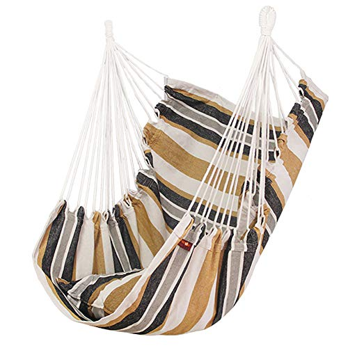 Guer Hammock Chair Hanging Rope Swing 2 Seat Cushions Included, Hanging Chair for Yard, Bedroom, Porch, Indoor/Outdoor free size braun