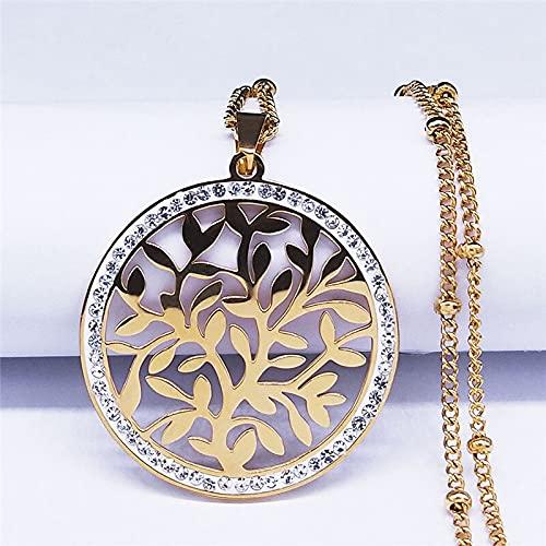 YUANBOO Árbol De La Vida Cristal Charm De Acero Inoxidable Collares para Mujer/Hombres Color De Oro Collares Collares Collares Collar De Mujer