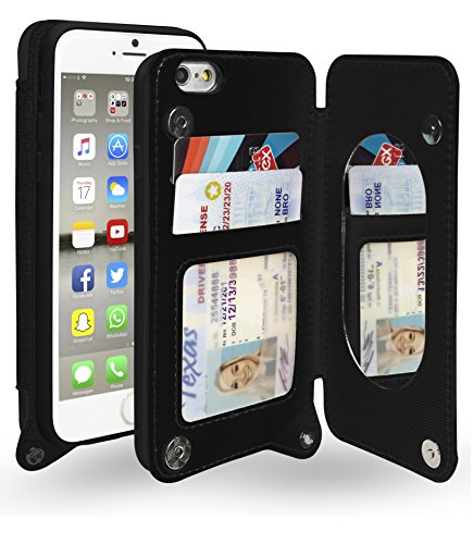 """Bastex iPhone 6 /6s Case, Hidden Back Mirror Wallet Case with Stand Feature and Card Holder for Apple iPhone 6, 6S 4.7""""- Black"""