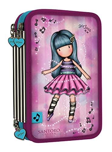 SANTORO Estuche Escolar Triple con 45 Útiles Incluidos Gorjuss Dancing Among The Stars, 205x125x65 mm, Rosa (M057A)