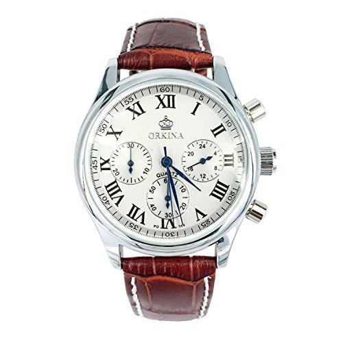 Chronomart Orkina Herren Uhr Analog mit Leder Armband ORK-0246CL