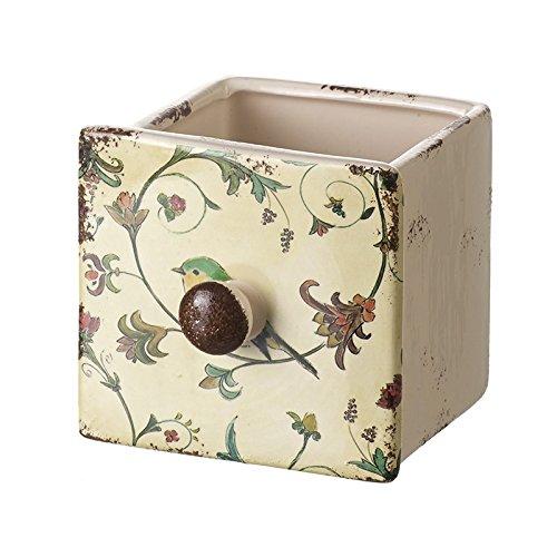 Unbekannt Heavensends FDT010B Shabby Chic Mini Übertopf Vogel in Form Einer Schublade