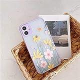 AAA&LIU Coque de téléphone Fleur pour iPhone 11 Pro Max 7 8 Plus X XR XS Max Couleur Bordure...
