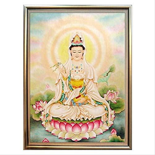 5d Diamond Painting Guanyin Cross Stitch Sitting Lotus Guanyin Full Diamond Buddha Buddha Series Diamond Embroidery Stickers Diamond Painting
