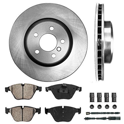 Callahan FRONT 347.97 mm Premium OE 5 Lug [2] Brake Rotors + [4] Ceramic Pads + Hardware + Sensors CRK01496