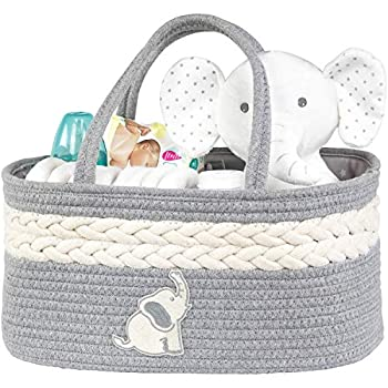 Baby Diaper Caddy Organizer - Portable Diaper Basket for Changing Table and Car - Cotton Rope Diaper Organizer Caddy - Nursery Baby Caddy Organizer for Baby Stuff - Baby Shower Idea for Boys and Girls