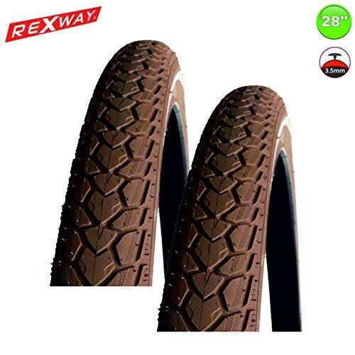 REXWAY 2 x Fahrradreifen Shopper + PS + Reflex Braun 37-622 - 28 x 1 5/8 x 1 3/8