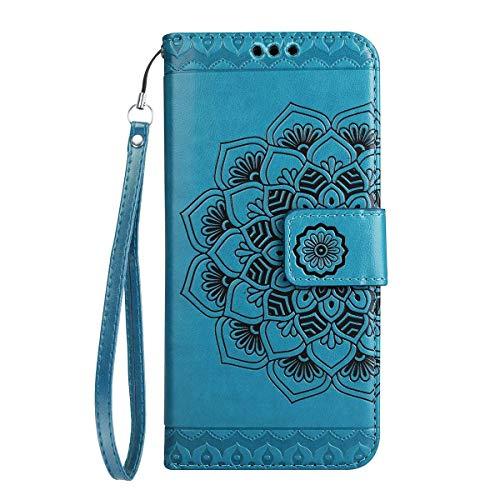 Yheng Samsung Galaxy A5 2017 Coque, Fleur de Mandala Imprimé Étui Folio à Rabat Housse Cuir Portefeuille Magnétique Wallet Case avec Porte-Cartes Fonction Stand Livre Coque pour Galaxy A5 2017,Bleu