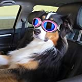 PETLESO Dog Googles Pet Eye Protection Sunglasses Ski Goggles Adjustable for Large Dog Outdoor Skiing Cycling Driving White