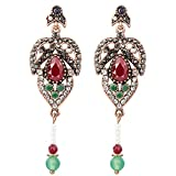 Pendientes de la borla de la piedra natural de lujo para las mujeres oro antiguo joyería vintage joyería rojo resina cristal étnico estilo drop pendientes pendientes