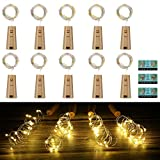 Vicloon Luz de Botella,2m 20LEDs Lámparas de Botellas con Pilas Flexible de Alambre de Cobre,LED Corcho Micro Luces para Carnaval,Decoración de Boda,DIY Fiesta,Celebración - 12PCS,Blanco Cálido
