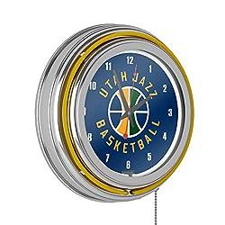 Utah Jazz NBA Chrome Double Ring Neon Clock