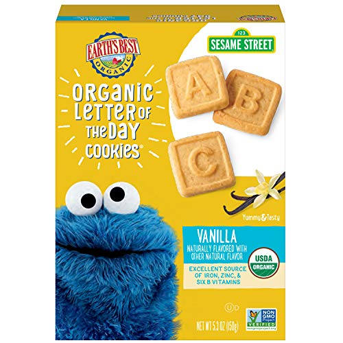 Earth's Best Organic Sesame Street Toddler Letter of the Day Cookies, Vanilla, 5.3 Oz Box (Pack of 6)