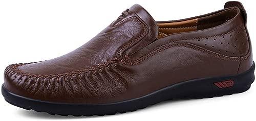 Apragaz Herren Classic Echtes Leder Soft Slip On Mokassin Loafers Atmungsaktive Fahr Schuhe Fashion Slipper (Farbe   Dunkelbraun, Größe   44 EU)