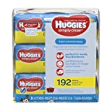 HUGGIES Simply Clean Fresh Scented Baby Wipes, Soft Pack (3-Pack, 192 Sheets Total), Alcohol-Free, Hypoallergenic (Pack