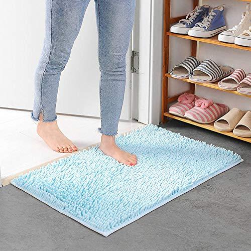 KEAINIDENI toiletmat groot formaat 60 * 90cm/70 * 140cm goedkope dikke Chenille badmat, badtapijt voor woonkamer vloermat Tapete De Banheiro about 50x80cm luchtblauw