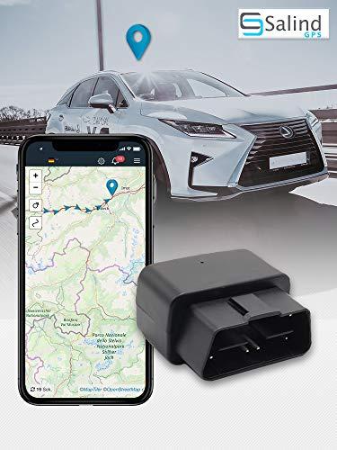 Salind GPS-tracker voor auto, voertuigen en vrachtwagen, OBD2-stekker, diefstalbeveiliging voor auto