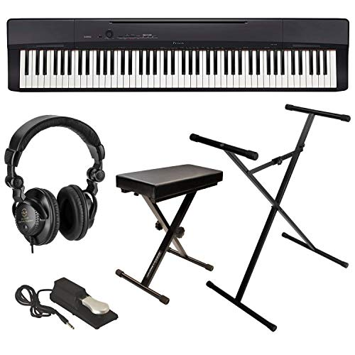 Casio Privia PX-160 88-Key Portable Digital Piano (Black), Bundle with Bench, Stand, Sustain Pedal and H&A Studio Headphoneshones