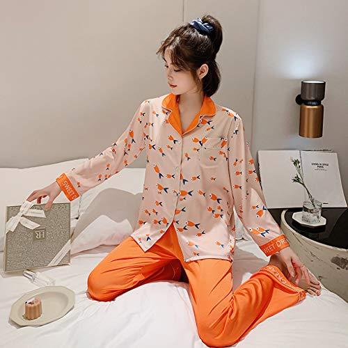 LIXIAOLAN Herbst Pyjamas Sets Frauen Seide Langarm Home Wear Damen Sexy Satin Tops + Hosen 2 PCs Anzug Nachthemd Nachtwäsche Set,Orange,L