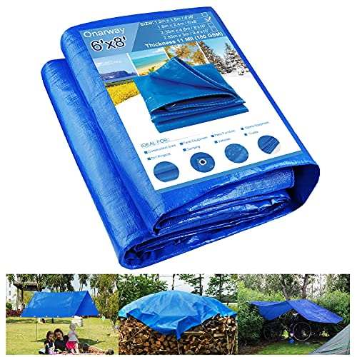 Onarway Tarp 6' X 8' Thicken 11 Mil Heavy Duty Waterproof Tarpaulin with Grommets, for Outdoor Shelter, Roof Cover, Garden Shade, Camping, Ground Sheet