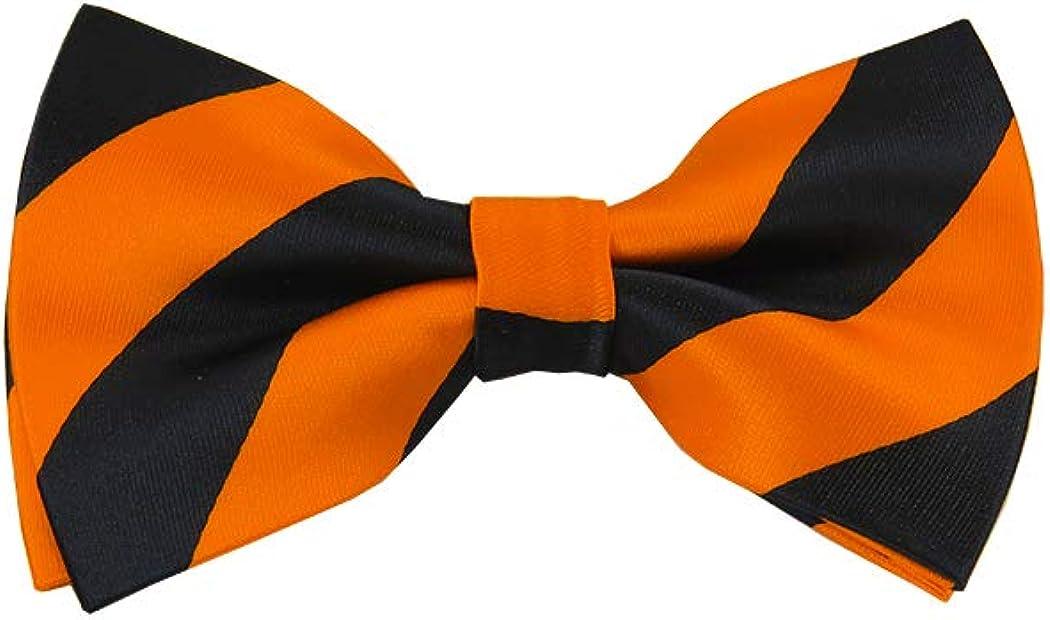Black and Orange College Stripe Pre-Tied Bow Tie