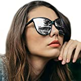 LVIOE Cat Eyes Sunglasses for Women, Polarized Oversized Fashion Vintage Eyewear for Driving Fishing - 100% UV Protection (Black Frame/Silver Mirrored Lens Cat Eyes Oversized, Silver Mirror)