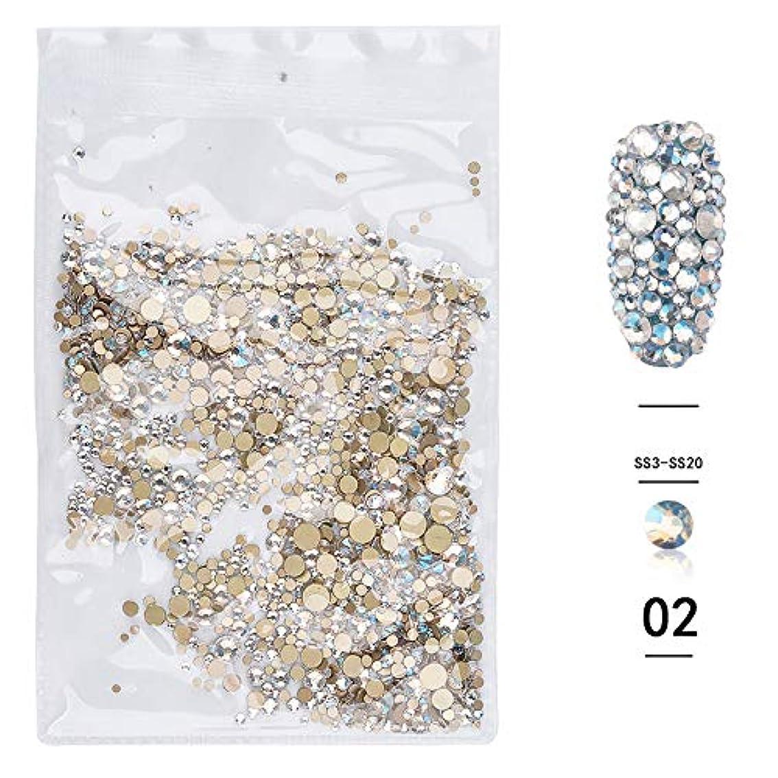 クリークに向かってタヒチ(1440pcsのパック)ネイルアートラインストーン3DデコレーションフラットボトムダイヤモンドシャイニーABクリスタル混合サイズDIYアクセサリー