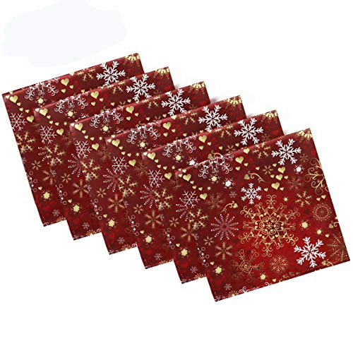 """Pfrewn Christmas Snowflake Red Cloth Napkins Set of 6 Xmas Snowman Winter Dinner Napkins Solid Washable Reusable Polyester Table Napkins Oversized 20""""X20"""" with Hemmed Edges for Home Weeding Decoration"""
