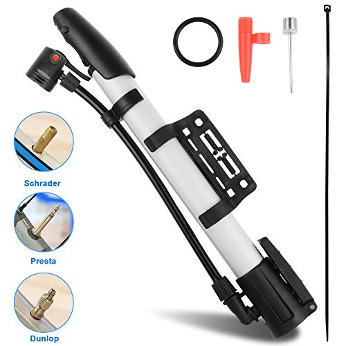 Bicycle Pump,Bike Pump,Mini Portable Aluminum Alloy Bike Tire Pump Kit for Mountain Bike,Swimming Ring,Balloon,Yoga Ball,Basketball, All Kinds of Sport Balls,and Other Inflatables Air Toy Pump