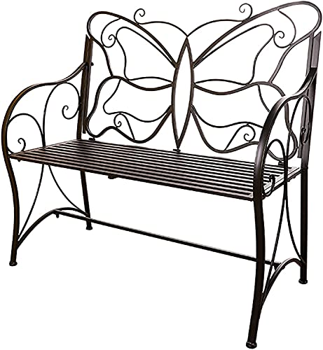 wsbdking Indoor leisure wrought iron back chair, outdoor park balcony decorative bench, waterproof and sunproof garden metal seat,iron family bench that can accommodate 2 people, stool furniture for l
