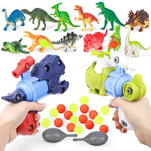 Sanlebi 2 Piezas Pistolas de Juguete para niños, Dinosaurio Juegos de Construccion Juego de Disparo con 20 Bolas Regalos de Cumpleaños para Niños