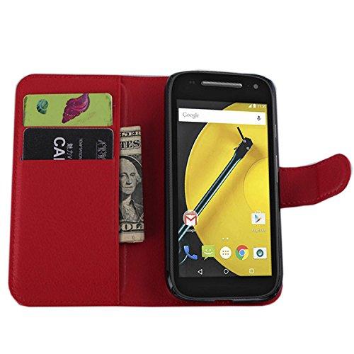 Ycloud Tasche für Motorola Moto E 2 Generation Hülle, PU Ledertasche Flip Cover Wallet Case Handyhülle mit Stand Function Credit Card Slots Bookstyle Purse Design rote