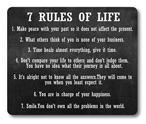 Smooffly Gaming Mouse Pad Custom,7 Rules of Life Motivational Inspirational Personality Desings Gaming Mouse Pad