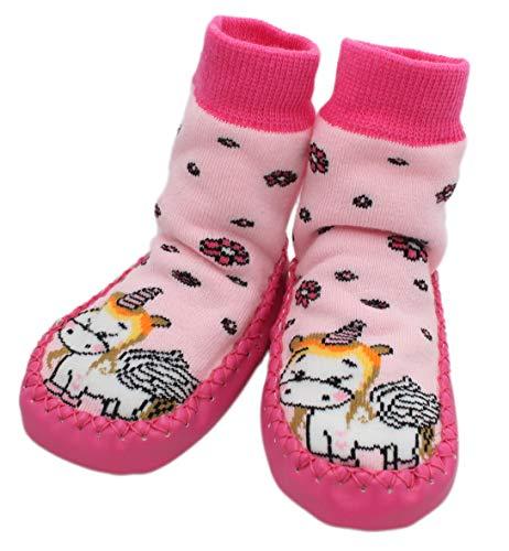 Calcetines de invierno antideslizantes para bebé, diseño de unicornio, color rosa