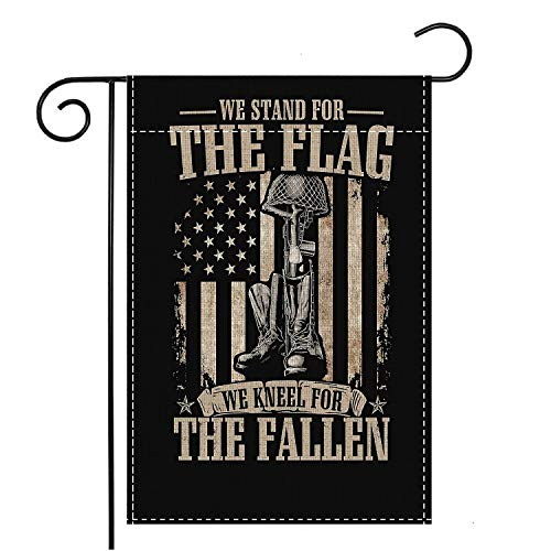 Military We Stand for The Flag We Kneel for The Fallen Garden Flag Family Decorative Xmas Welcome Banner Outside Yard Mailbox Festival Colours Ornaments House Decoration 12 x 18 Inch