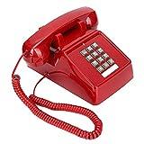 cigemay Teléfono Fijo Retro Rojo, Estilo Clásico los Años 80, Teléfono Escritorio con Cable Antiguo Vintage con Sonido Fuerte/Control Volumen/Pantalla Identificación Llamadas para Hotel
